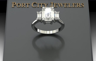 The Amy Ring Series - Eternal Moissanite 10mm X 8mm Emerald Cut Center with Emerald Cut Sides Three Stone Ring