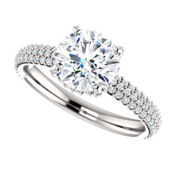 "The Katie Ring Series - NEO Moissanite 1.50CT Round ""Diamond Cut"" & Diamond Pave  Engagement Ring"