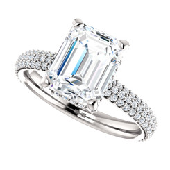 The Katie Ring Series - NEO Moissanite 2.45CT Emerald Cut & Diamond Pave  Engagement Ring