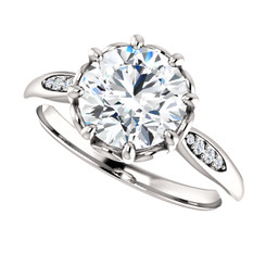 The Dorothy Ring Series - Eternal Moissanite 2CT = 8mm Round Brilliant Cut Engagement Ring