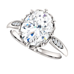 The Dorothy Ring Series - Eternal Moissanite 3CT = 10mm x 8mm Oval Cut Engagement Ring