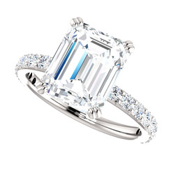The Beverly Ring Series - Eternal  Moissanite 3.45CT Center Emerald Cut GH Color with Diamond Sides