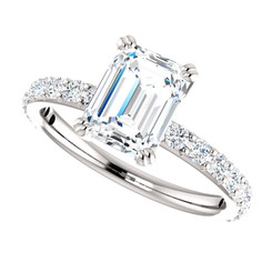 The Beverly Ring Series - NEO Moissanite 1.75CT Emerald Cut & Diamond Solitaire Engagement Ring - PLATINUM