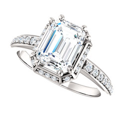 The Arianna Ring Series  - NEO Moissanite 1.75 Emerald Cut Halo Engagement Ring