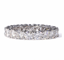 Eternity Band - 14K White Gold Eternal Moissanite 4.25CTW Round Brilliant Cut