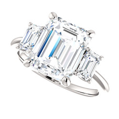 The Allie Ring Series  - Eternal  Moissanite 3.50CT Center Emerald Cut Three Stone Engagement Ring - STUNNING