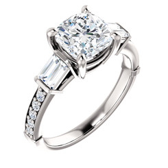 The Clista Ring Series - Forever One Moissanite Cushion Cut 1.30CT Engagement Ring Set With Diamond Accents