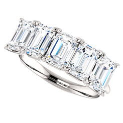 Platinum 5 Stone Eternal Moissanite Emerald Cut Wedding Anniversary Band
