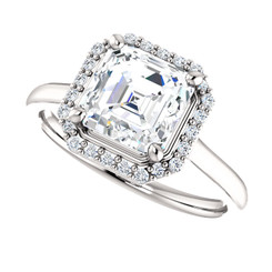 The Lila Ring Series - Eternal Moissanite 1.80CT Center Asscher Cut EF Color with Diamond Halo