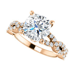 The Aurora Ring Series - Eternal Moissanite 2.40CT Center Cushion Cut Engagement Ring