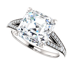 The Margo Ring Series - Eternal Moissanite 4CT Center Asscher Cut Engagement Ring