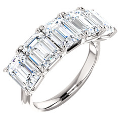 Eternal Moissanite 5 Stone Emerald Cut Wedding Anniversary Band 14K - 5CTW