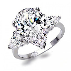 3CTTW 2CT Center Pear Shaped CZ Sterling Wedding Engagement Ring