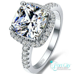 3CT NSCD Simulated Diamond Cushion Cut Wedding Engagement Ring