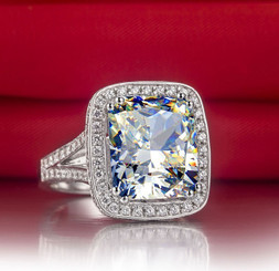 8CT NSCD Simulated Diamond Cushion Cut Split Shank Engagement Ring - .950 Sterling Silver WOW!!!