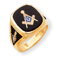 14K Yellow Gold Masonic Ring with Black Onyx Oval Cabochon Cut Stone!