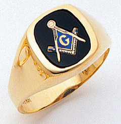 Men's Master Mason Ring Cushion Shaped (Open Back)