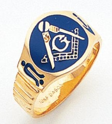 Men's Master Mason Ring w/ Blue Enamel & Solid Back