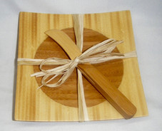 Island Bamboo Tray with spreader knife.