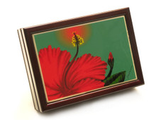 Red Hibiscus Tile Box