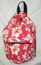 Hawaiian Pareau print sling bag Red & white