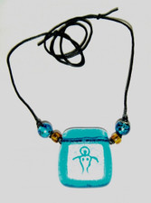 Hawaiian Art Glass Petroglyph Pendant