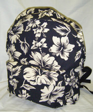 Hawaiian Canvas pareau print backpack Black & White