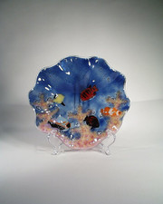 Hawaiian FUSION GLASS - FISH SCENE SHELL - 8 INCHES