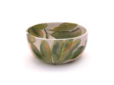 Hawaiian Hand Painted Flower Bowl Ti Leaves