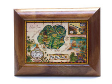 Hawaiian Koa Framed Antique Map of Kauai Giclee