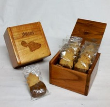 Hawaiian Koa Island Box - Maui w/Pineapple shaped cookies