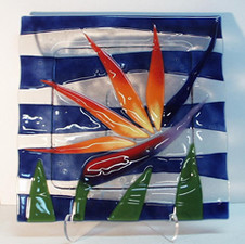 BIRD OF PARADISE PLATE , Blue : 11/2 INCH