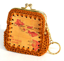 Hawaiian Island leather, knitted coin purse with key ring