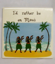"Ceramic Tile - Maui - ""The Hula Girl"""