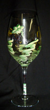 Hand Painted White Wine Glasses (pair)