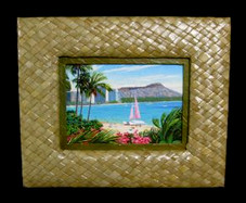 Lauhala framed canvas of Diamond Head
