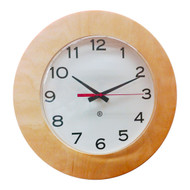 "13"" Round Wall Clock with Maple Bezel - Peter Pepper Model 361MA - Analog"