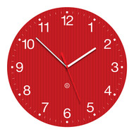 "Model GROOVY - 14"" Acrylic Clock with Surface Graphics - Red"