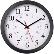 """11.75"""" Round syncTECH Receiver Wall Clock - Black Plastic Bezel - Peter Pepper Model WC105 - Analog"""