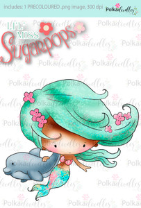 http://www.polkadoodles.co.uk/dolphin-mermaid-precoloured-digi-download/