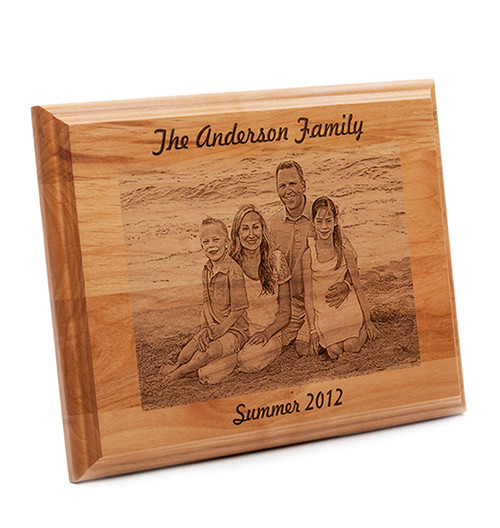 New Custom Engraved Family Photo Plaque - Natural Wood ZL77