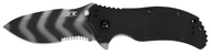 "Zero Tolerance 0350TSST Assisted Opening Knife, Tiger Striped 3.25"" Partially Serrated Edge Blade, Black G-10 Handle"