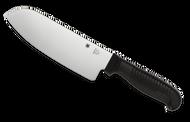 "Spyderco Santoku K08PBK Kitchen Knife, 6.906"" Plain Edge Stainless Steel Blade, Black Handle"