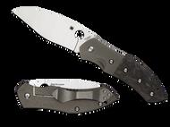 "Spyderco Myrtle C194CFTIP Folding Knife, 3.75"" Plain Edge Blade, Titanium and Black Carbon Fiber Handle"