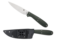 "Spyderco Sprig FB37GGRP Fixed Blade Knife, 4.25"" Plain Edge Blade, Forest Green G-10 Handle, Sheath"