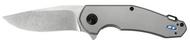 """Zero Tolerance 0220 Flipper Folding Knife, Stonewashed 3.5"""" Plain Edge Blade, Bead Blasted Titanium Handle"""