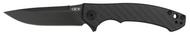 "Zero Tolerance 0450CF Flipper Folding Knife, Black 3.125"" Plain Edge Blade, Black Carbon Fiber and Titanium Handle"