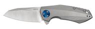 """Zero Tolerance 0456 Flipper Folding Knife, 3.25"""" Plain Edge Blade, Titanium Handle"""