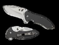 "Spyderco Rubicon 2 C187CFP2 Flipper Folding Knife, 3.125"" Plain Edge Blade, Black Carbon Fiber and G-10 Laminate Handle"