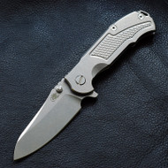 "Rick Hinderer Knives MP-1 Folding Knife, Stonewashed 3.4"" Plain Edge S35VN Blade, Stonewashed Titanium Handle"